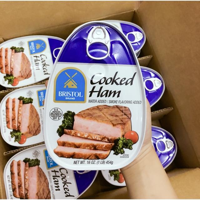thịt hộp xông khói cooked ham bristol 326gr
